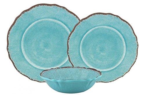 Le Cadeaux Antiqua Turquoise Dinner Plates, Accent Plates & Cereal Bowls 12-Piece Dinnerware Set (Service for four) (Coastal Melamine Dinnerware)