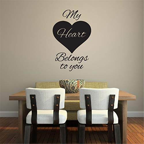 lieazs Removable Vinyl Decal Art Mural Home Decor Wall Stickers My Heart Belongs to You Master Room Nursery Kids Room