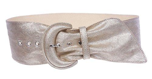 Women's Wide High Waist Metallic Crack Print Tapered Sash Belt Color: Matt Gold Size: M/L - ()