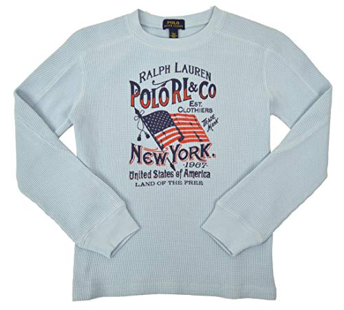 Polo Ralph Lauren Toddlers Boys Kids Thermal Knit Flag Print Long Sleeve Shirt Light Blue (7)