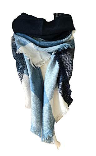 (Wander Agio Womens Warm Scarf Triangle Shawls Large Scarves Stripe Plaid Fichu Blue Navy Cyan 2)