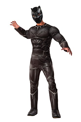 [Marvel Men's Captain America: Civil War Deluxe Muscle Chest Panther Costume, Black, Standard] (Captain America Costumes For Adults)