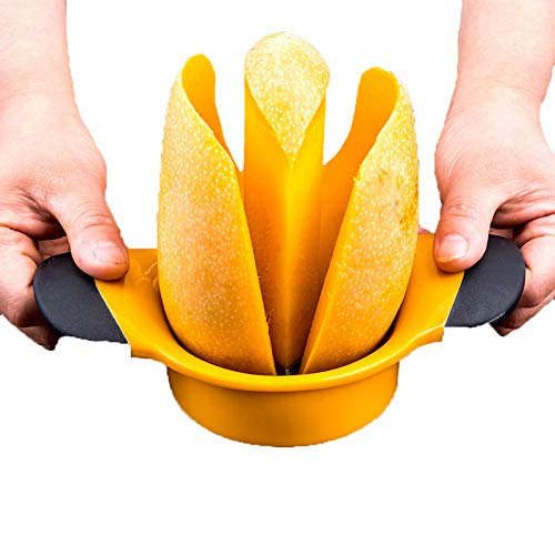 Bozoa Large Mango Slicer Cutter Divider - The Easist Graters Non-Slip Mango Slicer with Ergonomic Horizontal Grip Handles-Yellow