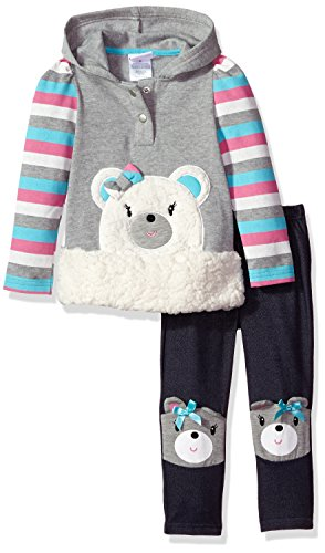 Nannette Toddler Girls' 2 Piece Sherpa Applique Fleece Hoodie and Legging Set