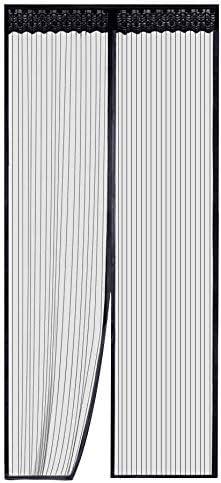 Mosquitera magnética para puertas malla de pantalla duradera, fácil de instalar mejor marco velcro magnético, mantener insectos fuera se adapta a la apertura de la puerta hasta 90cm x 210cm