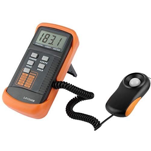 Cqu Light Measurement Portable Digital Light Meter Lux Meter LX1330B with Data-Hold Function, Measuring Range: 0.1-200000 Lux