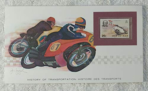 Motorcycles - Postage Stamp (Isle of Man, 1982) & Art Panel - The History of Transportation - Franklin Mint (Limited Edition, 1986) - Mike Hailwood, Racing ()