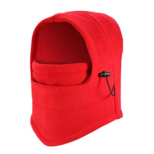 Hunputa Womens Hat Winter, Fleece Hood - Windproof Ski Mask - Heavyweight Cold Weather Winter Motorcycle, Ski & Snowboard Gear - Ultimate Protection From The Elements (Red) - French Hood Hat