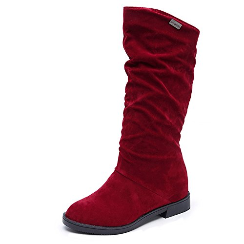 Pocciol Women Lady Mid-Calf Low Heel Boots, Women's Winter Warm Faux Suede Slip-on Wide Calf Boots (Red, US:6.5) (Revolution Bohemian)
