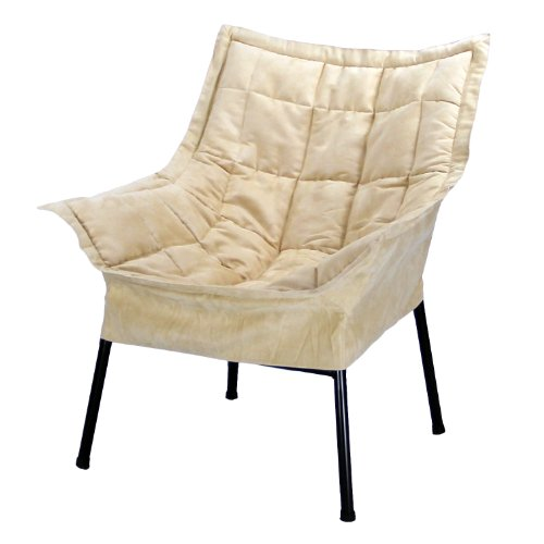 Milano Lounge - Casual Home Milano Chair with Black Metal Frame and Microsuede Outer Cover, Beige
