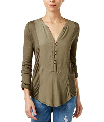 Lucky Brand Women's Woven Henley Top Grape Leaf 7W62997