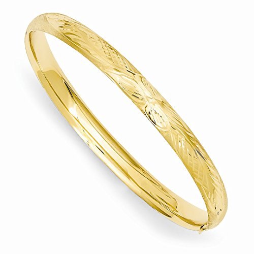14k Yellow Gold Florentine Engraved Baby Bangle Bracelet Cuff Expandable Stackable 6 Inch Fine Jewelry Gifts For Women For Her