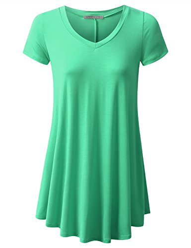 Long Mint (URBANCLEO Womens V-Neck eLong Tunic Top Mini T-shirt Dress MINT LARGE)