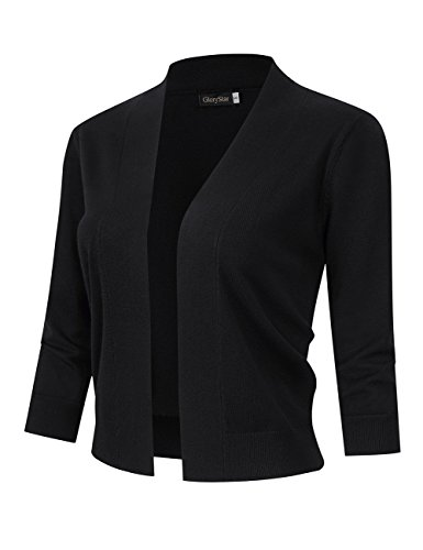 GloryStar Women's 3/4 Sleeve Open Front Cropped Cardigan Sweater Lightweight Knit Short Shrugs Black S