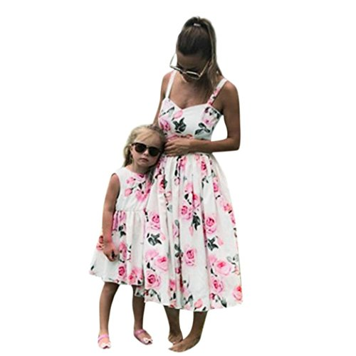 Flurries Women Dress, Fashion Mommy & Me Women's Lady's Sleeveless Floral Print Princess Dress Family Clothes (M, White) by Flurries