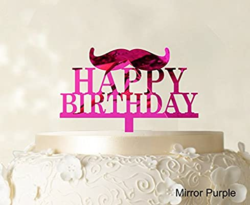 Feliz cumpleaños decoración para tarta para con bigote negro ...