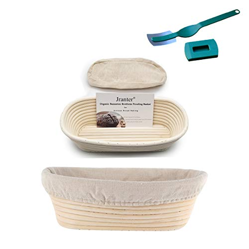 Jranter 2 pc Oval 11 inch Bread Proofing Baskets Banneton Sourdough Bowls Natural Rattan Basket with Lame&Liner for Home Bakers ()