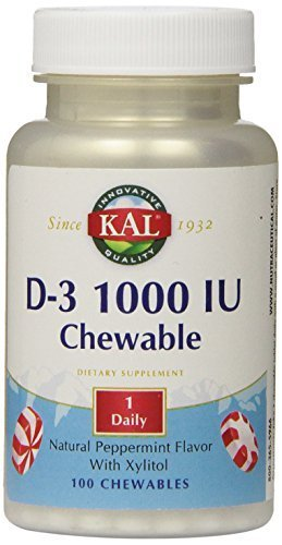 100 Chewable Softgels (KAL D-3 1000 IU Chewable Softgels, Peppermint, 100 Count by KAL)