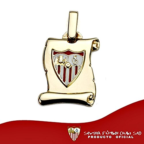 Sevilla FC bouclier suspendu scroll sterling 18k 17mm d'or. [8544]