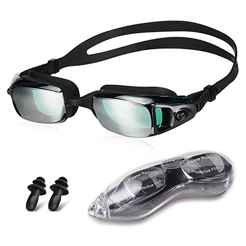 HUBO SPORTS Swimming Goggles, Swim Goggles for Women Mens Swim Goggles with Anti-Leak & Anti Fog UV 400 Protection Clear Vision with Free Protection Case(Black)
