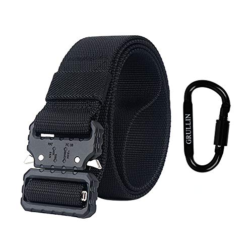 GRULLIN Tactical Belt, Quick-Release Heavy Duty Nylon Riggers Belt, 1.5 Inch Military Style Tactical Belt with Black Metal Buckle for Men