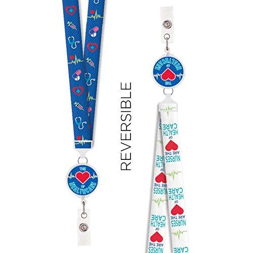 Reversible Badge Reel Lanyard (Nurses Heart of Healthcare) (Holder Id Healthcare)