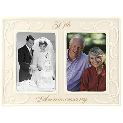 50th Wedding Anniversary Photo Frames - Malden International Designs 50th Anniversary Ceramic Milestones Picture Frame with Two Openings, 3-1/2-Inch by 5-Inch