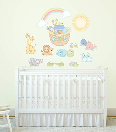 Noah's Blue Pastel Pairs Ark and Animals Super Jumbo Applique Wall Decals