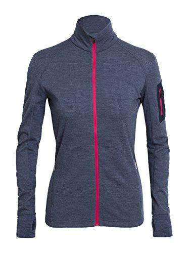 Icebreaker Women's Terra Long Sleeve Zip Top, Fathom Heather/Admiral/Cherub, Medium