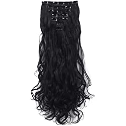3-5 Days Delivery 7Pcs 16 Clips 24 Inch Wavy Curly Full Head Clip in on Double Weft Hair Extensions