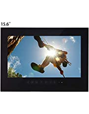 Haocrown 15.6 inch LED Smart TV for Bathroom IP66 Waterproof Android System Television with Wi-Fi(Black)