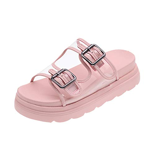 - Fastbot Women's Sandals Square Heels Shoes Hollowing Out PVC Round Toe Pink