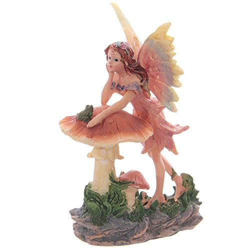 Puckator Sweet Flower Fairy Leaning On Toadstool Magical Home and Garden Ornament (Color A) (Toadstool Ornaments Garden)
