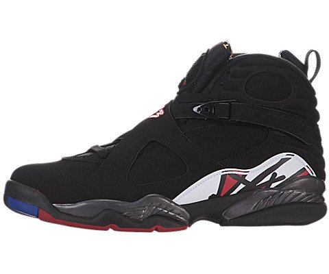 Nike Mens Air Jordan 8 Retro Basketball Shoes Playoffs Black/White/Bright Concord/Varsity Red 305381-061 Size 8.5