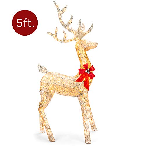 Best Choice Products 5ft 3D Pre-Lit Gold Glitter Christmas Reindeer Buck Yard Decoration w/ 150 Lights, Stakes, Zip Ties (Decorations Outdoor Reindeer)