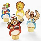 24 ct - Plastic Carnival Circus Big Top Character Cupcake Picks
