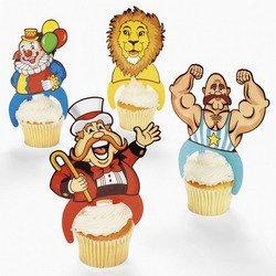 24 ct - Plastic Carnival Circus Big Top Character Cupcake Picks