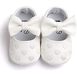 Voberry Baby Girls Stripe Bow Shoes Toddler Princess Flat Leather Moccasins (0~6Month, White)