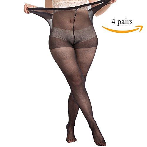 d755da0b5 MANZI Women s 2 Pairs Plus Size Control Top Ultra-Soft Tights ...
