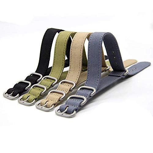 20mm Rugged Army Green Stitched Canvas Watch Strap for Men and Women NATO Straps Cotton Canvas Watch Bands by CHICLETTIES (Image #3)
