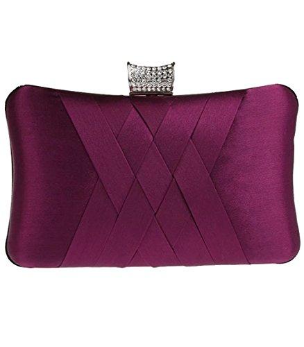 Blue Clutch Dress Evening Bag Dark Handbags Puluo for Prom Satin Bag Girls Purple pICqnUw