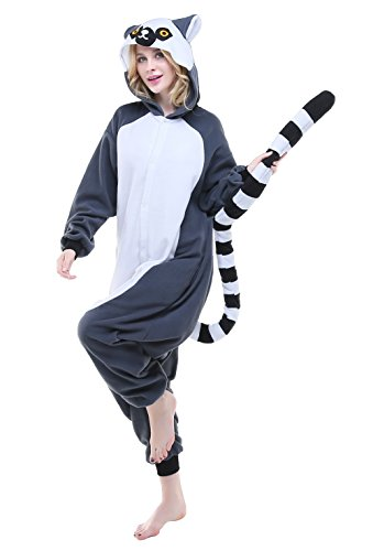 Ring Tailed Lemur Tail Costume (Canasour Mens Halloween Unisex Cosplay Onesie Adult Sleepsuit (Medium, Longtail Monkey))