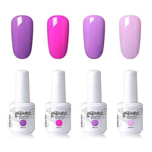 Elite99 Soak Off Gel Nail Polish Set UV LED Nail Art Kit 4 Colors with 20pcs Nail Polilsh Remover Wraps as Gift