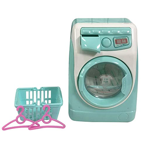 Facaily Mini Electric Washing Machine Simulation Dollhouse Furniture Kitchen Toys Kids Children Play House Washing Machine for Fun Kids Toy Washing Machine Gifts