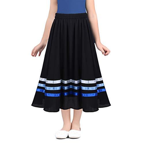 FEESHOW Girls Ballet Character Circle Skirt Rad Style Liturgical Full Long Circle Dance Skirt Lyrical Praise wear Dress Black&Blue 7-8
