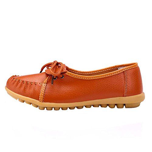 ANDAY Womens Vintage Non-Slip Medium-Aged Doug Loafer Flats Walk Nurse Shoes Orange 0VCSU8ipqW