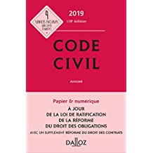 Code civil 2019, annoté (Codes Dalloz Universitaires et Professionnels) (French Edition)