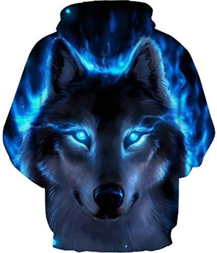 Ocean Capuche Licorne Sweat Tigre Aux Décontracté Imprimer Longue Hooded Yeux Plus Manche Bleus Loup Hommes À Coloré rrz4Y