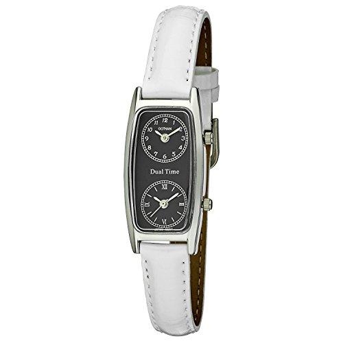 Gotham Women's Silver-Tone Dual Time White Leather Strap Watch # GWC15093SV