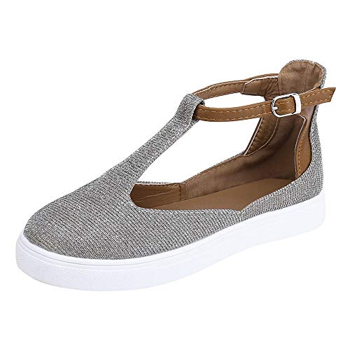 vermers Deals Women Vintage Out Shoes - Round Toe Platform Flat Heel Buckle Strap Casual Shoes(US:7.5, Gray) ()